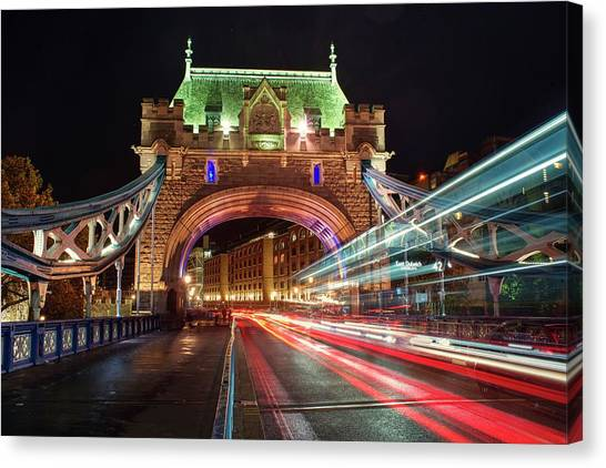 Canvas Print featuring the photograph Big Monster Is Eating Ghost Bus Number 42 by Quality HDR Photography