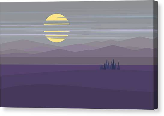 Big Moon At Twilight Canvas Print by Val Arie