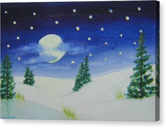 Big Moon Christmas Canvas Print