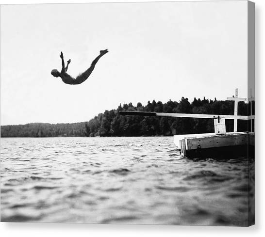 Girl Scouts Canvas Print - Big Pond Swan Dive by Underwood Archives