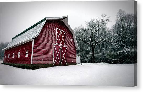 Big Red Barn In Snow Canvas Print