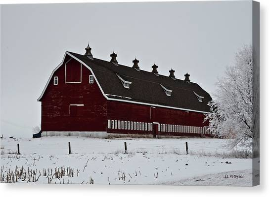 Big Red Barn In The Winter Canvas Print