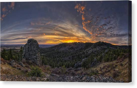 Mountain Sunsets Canvas Print - Big Rock Panorama by Mark Kiver