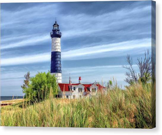 Canvas Print featuring the painting Big Sable Point by Christopher Arndt