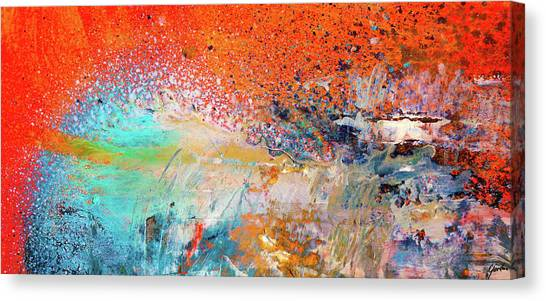 Big Shot - Orange And Blue Colorful Happy Abstract Art Painting Canvas Print