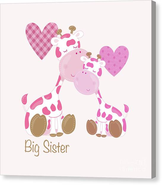 Big Sister Canvas Print - Big Sister Cute Baby Giraffes And Hearts by Tina Lavoie