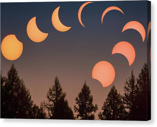 Canvas Print featuring the photograph Big Sky Solar Eclipse // Whitefish, Montana  by Nicholas Parker