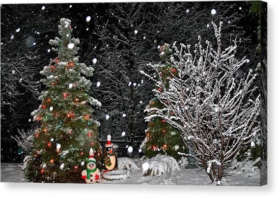 Big Snow Flakes    Holiday Card 6 Canvas Print by Robert Joseph