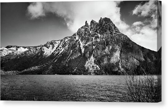 Big Snowy Mountain In Black And White Canvas Print