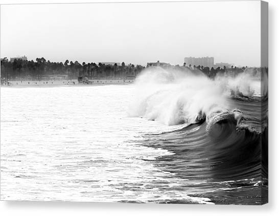 Big Surf At Santa Monica Canvas Print by John Rizzuto