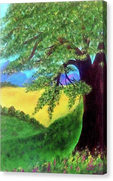 Canvas Print featuring the painting Big Tree In Meadow by Sonya Nancy Capling-Bacle