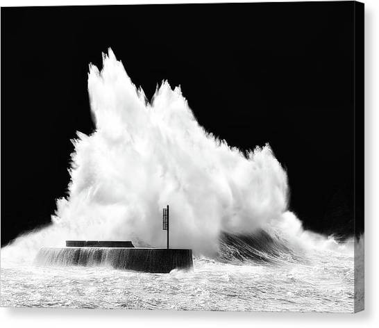 Big Wave Breaking On Breakwater Canvas Print