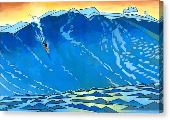 Surfboard Canvas Print - Big Wave by Douglas Simonson