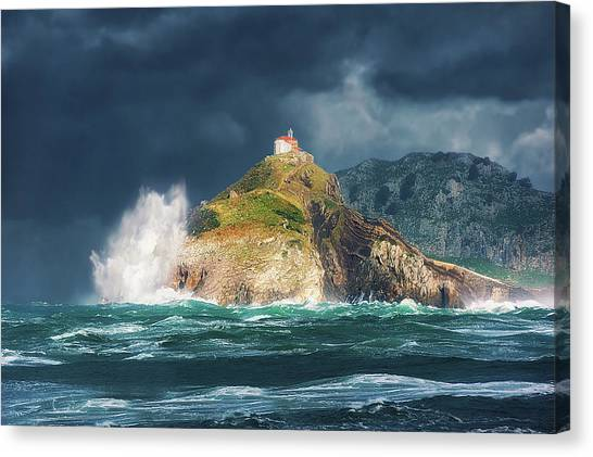 Big Waves Over San Juan De Gaztelugatxe Canvas Print