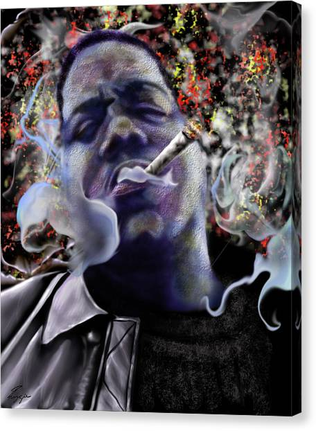 Hip Hop Canvas Print - Biggie - Burning Lights 5 by Reggie Duffie