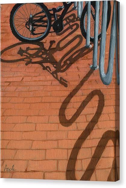 Bike And Bricks No.2 Canvas Print by Linda Apple