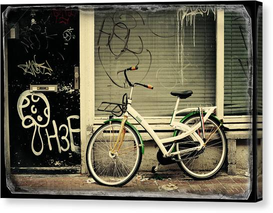 Graffiti Walls Canvas Print - Bike And Graffiti. Old Cards From Amsterdam by Jenny Rainbow