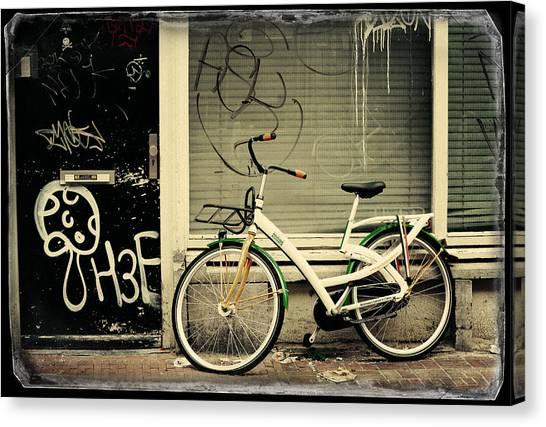 Graffiti Walls Canvas Print - Bike And Graffiti. Old Cards From Amsterdam by Jenny Rainbow