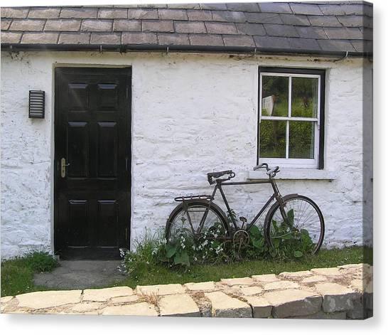 Bike And Irish Cottage Canvas Print