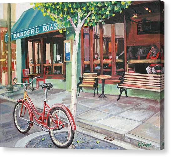 Bike At The Coffee Shop Canvas Print by Colleen Proppe