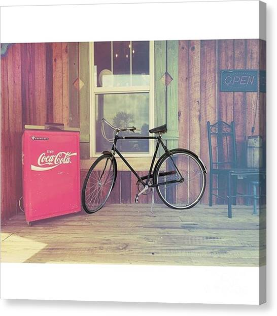 University Of Illinois Canvas Print - Bike By A Window Brighton Illinois by Larry Braun