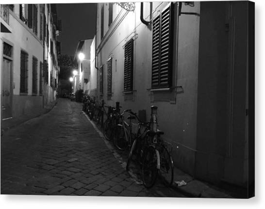 Bike Lined Alley Canvas Print