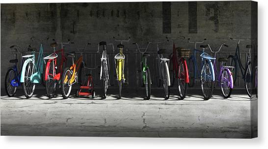 Rainbows Canvas Print - Bike Rack by Cynthia Decker