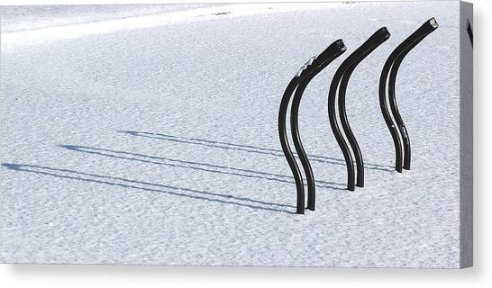 Bike Racks In Snow Canvas Print