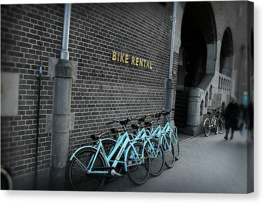 Canvas Print featuring the photograph Bike Rental by Scott Hovind