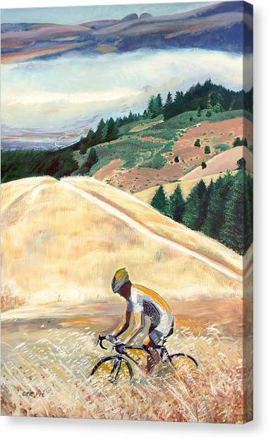 Bike Ride Above Bolinas Fog Canvas Print by Colleen Proppe