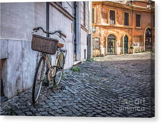 Old Door Canvas Print - Bike With Basket On Streets Of Rome by Edward Fielding