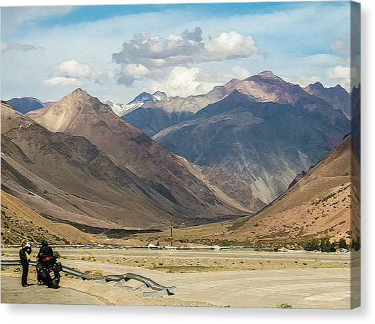 Bikers And The Andes Mountains Canvas Print