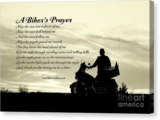 Biker's Prayer Canvas Print