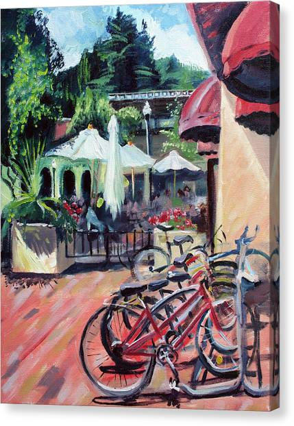 Bikes At The Depot Cafe Canvas Print by Colleen Proppe