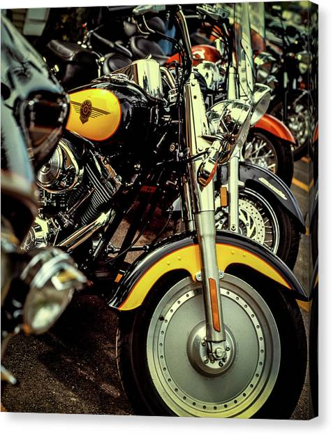 Canvas Print featuring the photograph Bikes In A Row by Samuel M Purvis III
