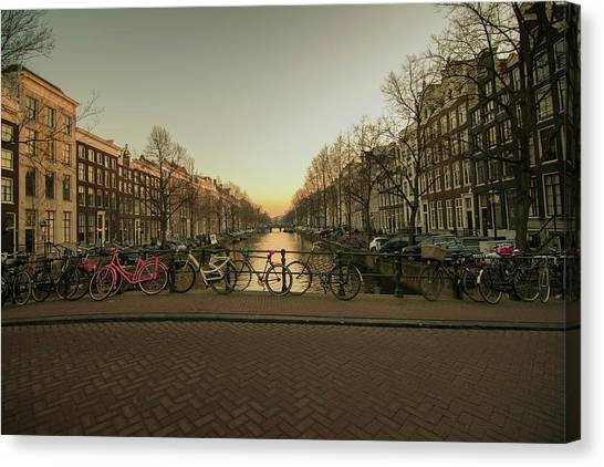 Bikes On The Canal Bridge Canvas Print
