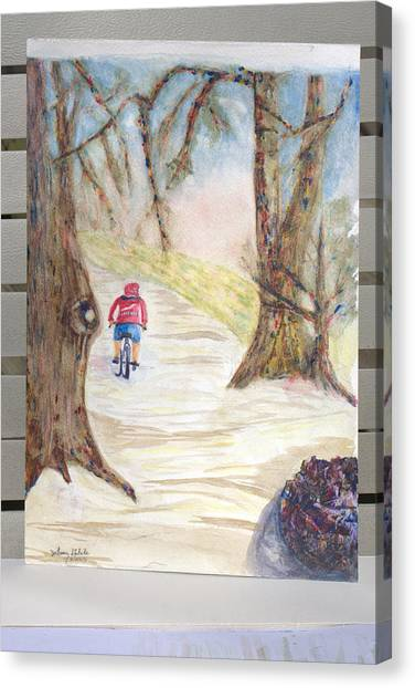 Biking In The Woods Canvas Print by Jonathan Galente
