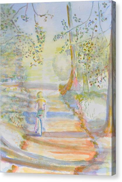 Biking In The Woods Canvas Print by MaryBeth Minton