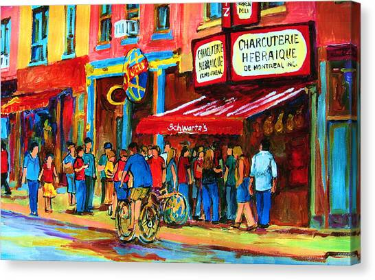 The Main Montreal Canvas Print - Biking Past The Deli by Carole Spandau