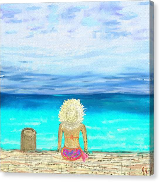 Bikini On The Pier Canvas Print