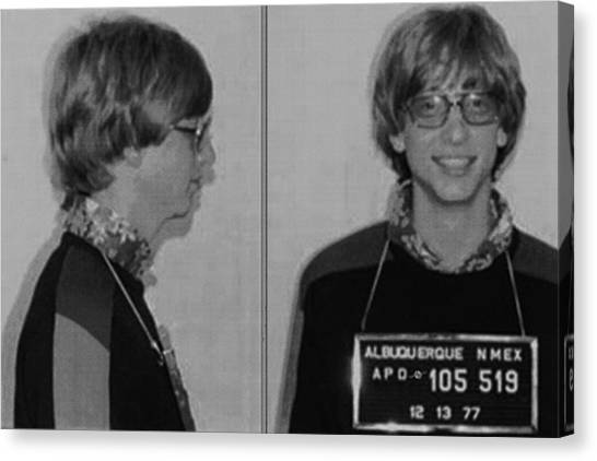 Bill Gates Mug Shot Horizontal Black And White Canvas Print