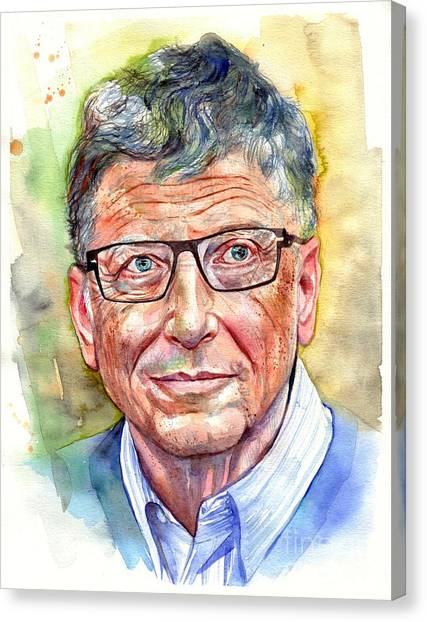 Stanford University Canvas Print - Bill Gates Portrait by Suzann's Art
