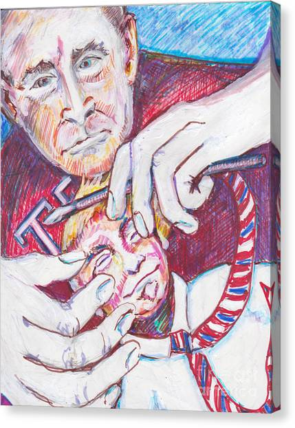 George Bush Canvas Print - Bill, I Am Doing All I Can The Paint Brush Is Mightier Than The Sword by Susan Brown    Slizys art signature name