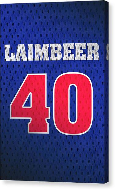 Detroit Pistons Canvas Print - Bill Laimbeer Detroit Pistons Number 40 Retro Vintage Jersey Closeup Graphic Design by Design Turnpike