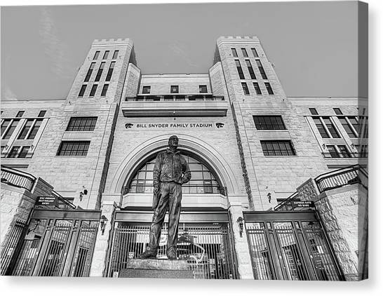 Bill Snyder Family Stadium In Black And White Canvas Print by JC Findley