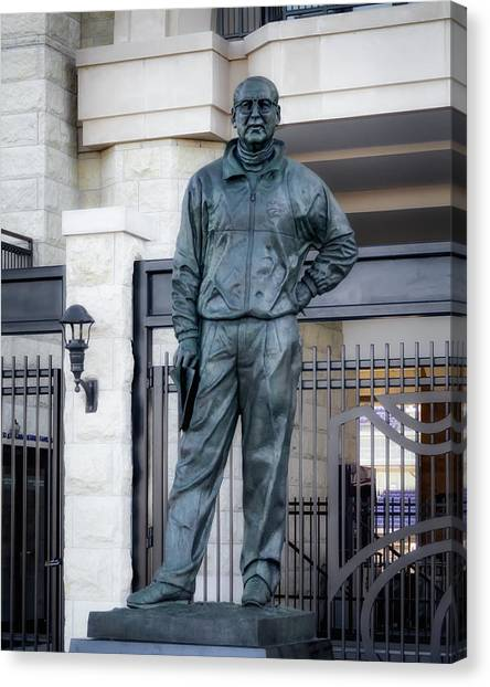 University Of Kansas Canvas Print - Bill Snyder Statue by James Barber