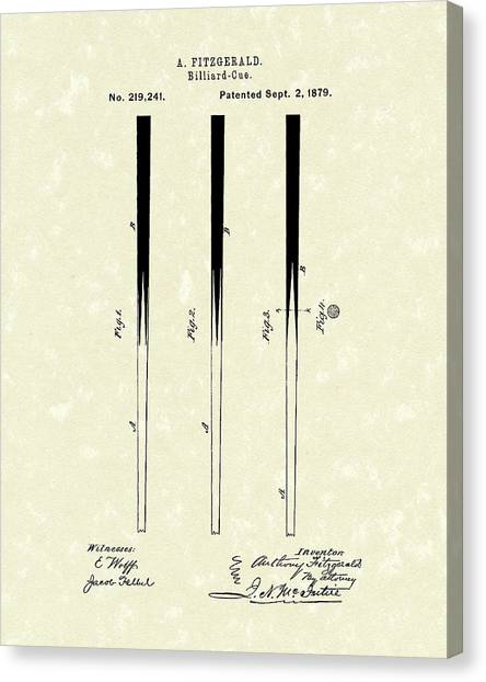 Billiard Cue 1879 Patent Art Canvas Print