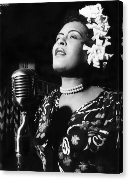 Microphones Canvas Print - Billie Holiday by Everett