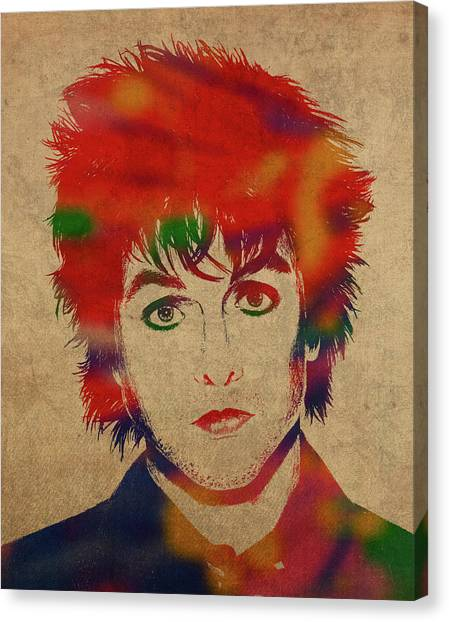 Green Day Canvas Print - Billy Joe Armstrong Green Day Watercolor Portrait by Design Turnpike