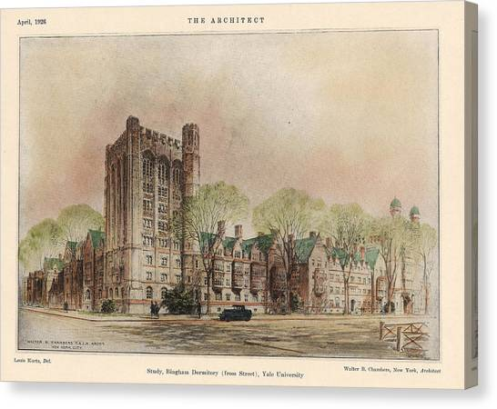 Yale University Canvas Print - Bingham Dormitory. Yale University. New Haven Connecticut 1926 by Walter Chambers